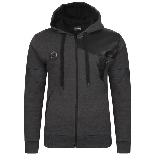 Mens Italian Designer fitted Hooded Top Full Zip Black with zip Detail